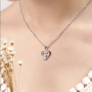 DIAMOND TWO LOVE HEART SILVER NECKLACE
